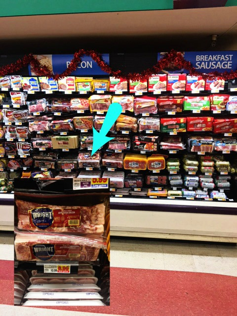 The shelf in Kroger that the Wright bacon can be found on and where at on the shelf.