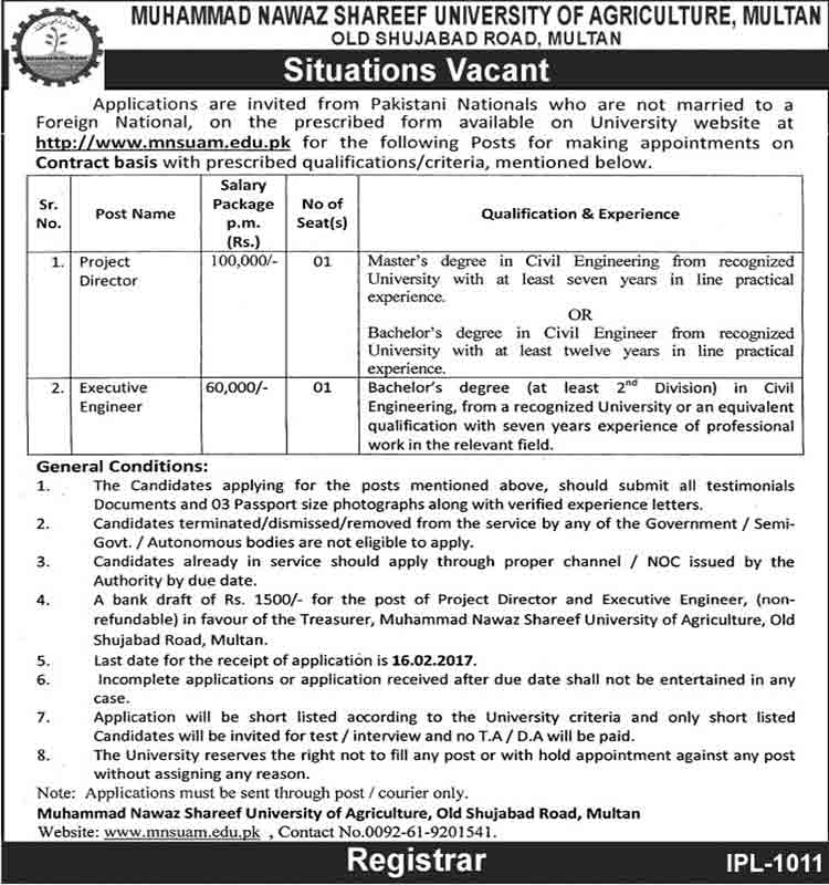 MNSUA Nawaz Shareef University Jobs In Multan