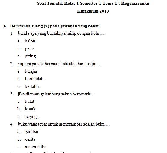 Download Kumpulan Soal SD Kelas 1 Tema 2 Kegemaranku Kurikulum 2013 Format PDF