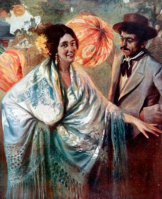 En la verbena,  Francisco Pons Arnau, Pintor español, Pintor Valenciano, Pintura Valenciana, Impresionismo Valenciano, Pintor Pons Arnau, Retratos de Pons Arnau