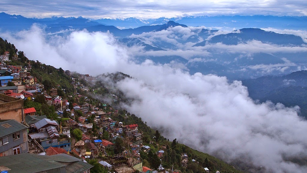 The awe inspiring view of the Himalayas and Darjeeling Town