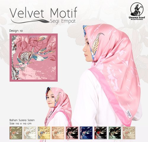 Jilbab Velvet Motif By Umama Scarf Segi Empat Harga Murah