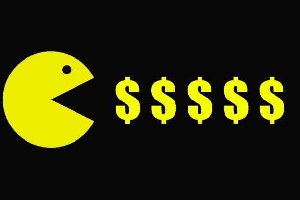 Pacman eats dollars