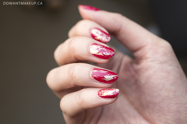 Red & gold dry brush nail art for Chinese New Year 2018