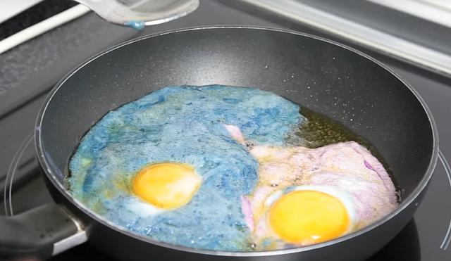 experimento, huevos, fritos, colores