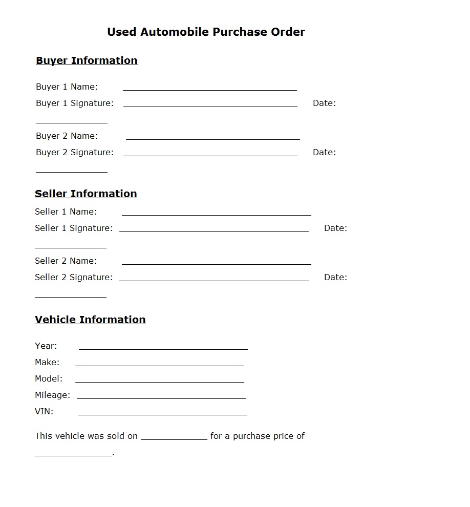 Used Car Purchase Order Template Sample