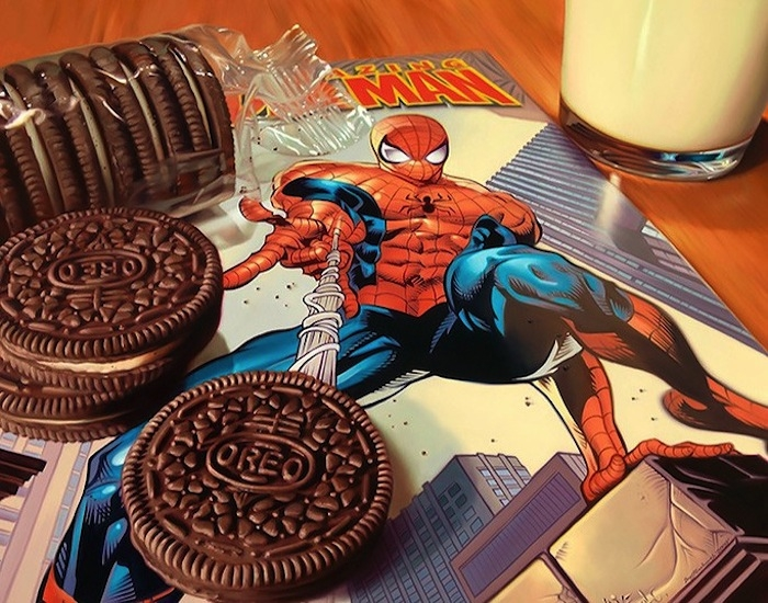 04-Spider-Man-and-Oreo-Doug-Bloodworth-Vintage-Comics-in-Hyper-Realistic-Painting-www-designstack-co