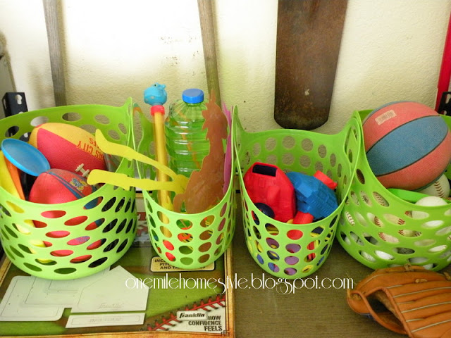Plastic baskets for garage organization