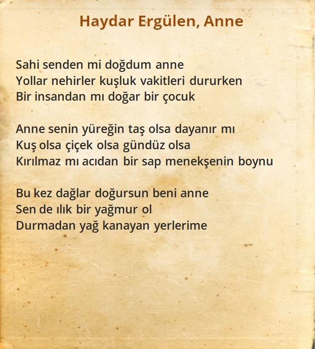 Haydar Ergülen - Anne şiiri