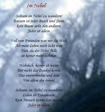 Hermann Hesse Weihnachten.Deutsch Mit Frau Virginia D Alò Hermann Hesse Im Nebel
