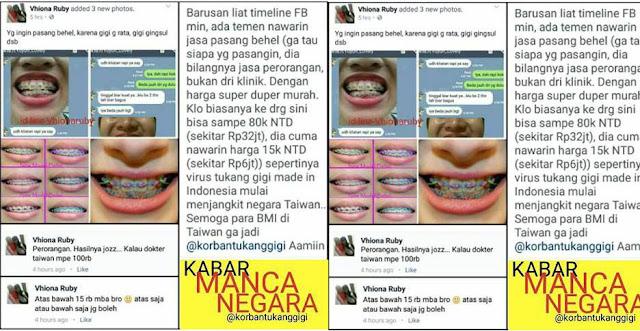 Waspada Tukang Behel Gigi Palsu di Taiwan dan Hong Kong - Sebarkan Informasi Ini Karena Berbahaya Pada Kesehatan