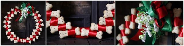 Homemade dog bone treat and ribbon Christmas wreath