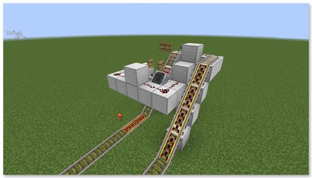 Minecraft 高速トロッコ輸送 アイテム荷降ろし駅(複線)