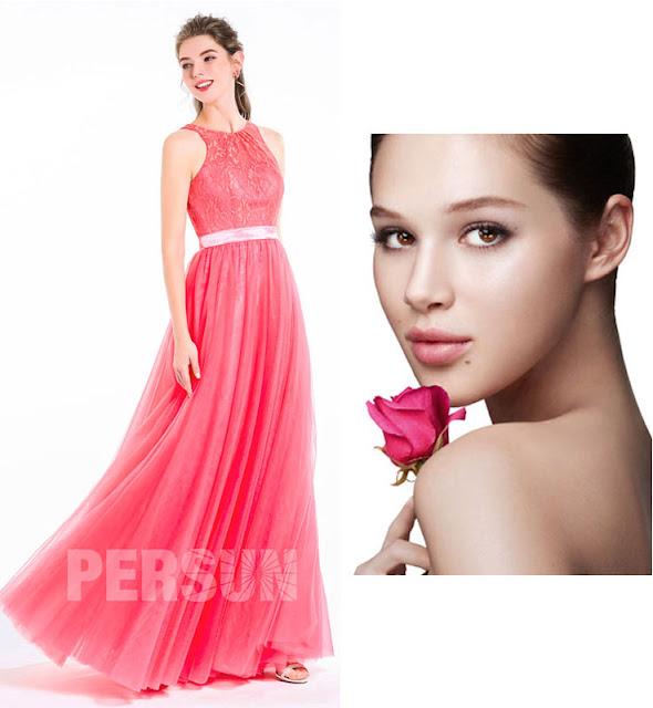 Maquillage soiree robe corail