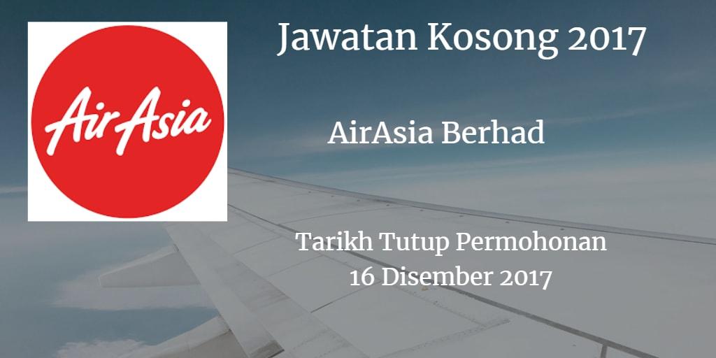 Jawatan Kosong AirAsia Berhad 16 Disember 2017