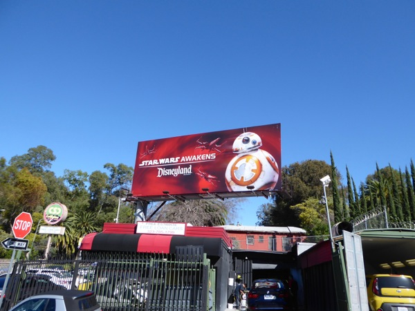 BB8 Star Wars Awakens Disneyland billboard