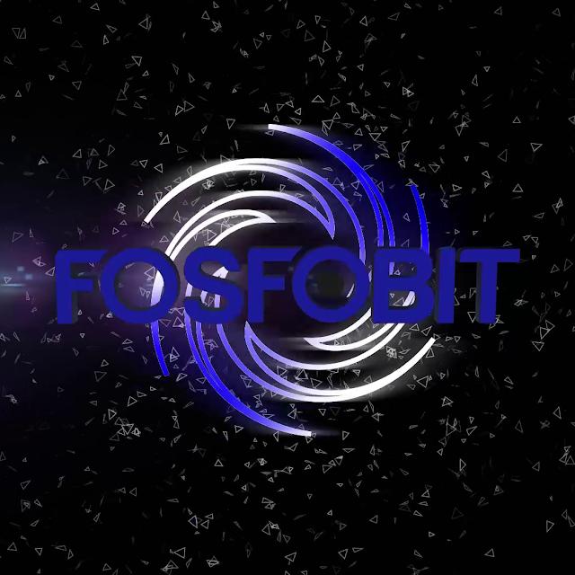 Imagen oscura con particulas flotantes y el logotipo del DJ Fosfobit en medio