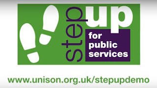 Logo for Step up for public services and Unison web address