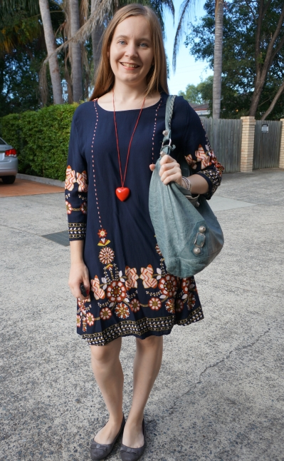 Shein navy flower print flowy swing dress with red necklace and Balenciaga day hobo bag | away from blue