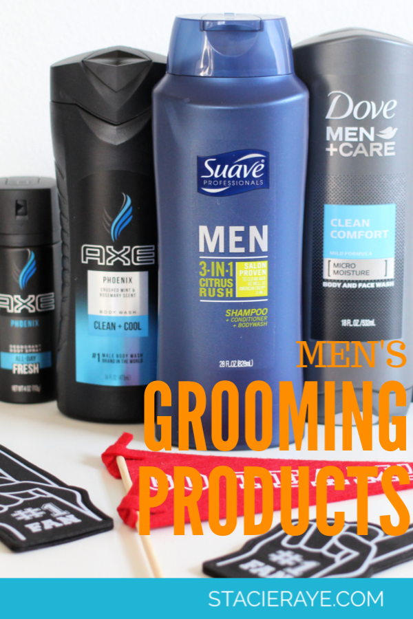 men's grooming products on a white table