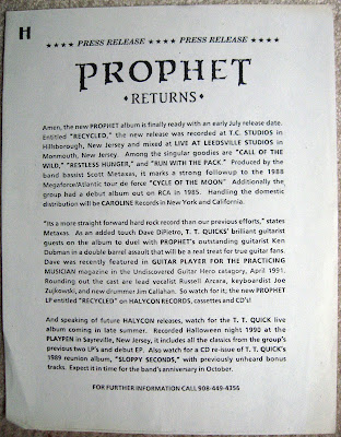 Prophet press release for the 1991 Recycled album