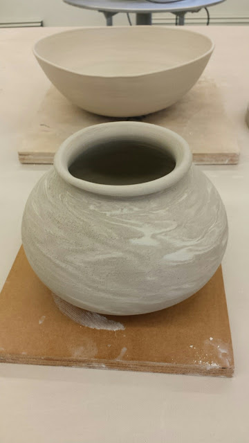 Marbled clay vessel by Lily L, in progress.