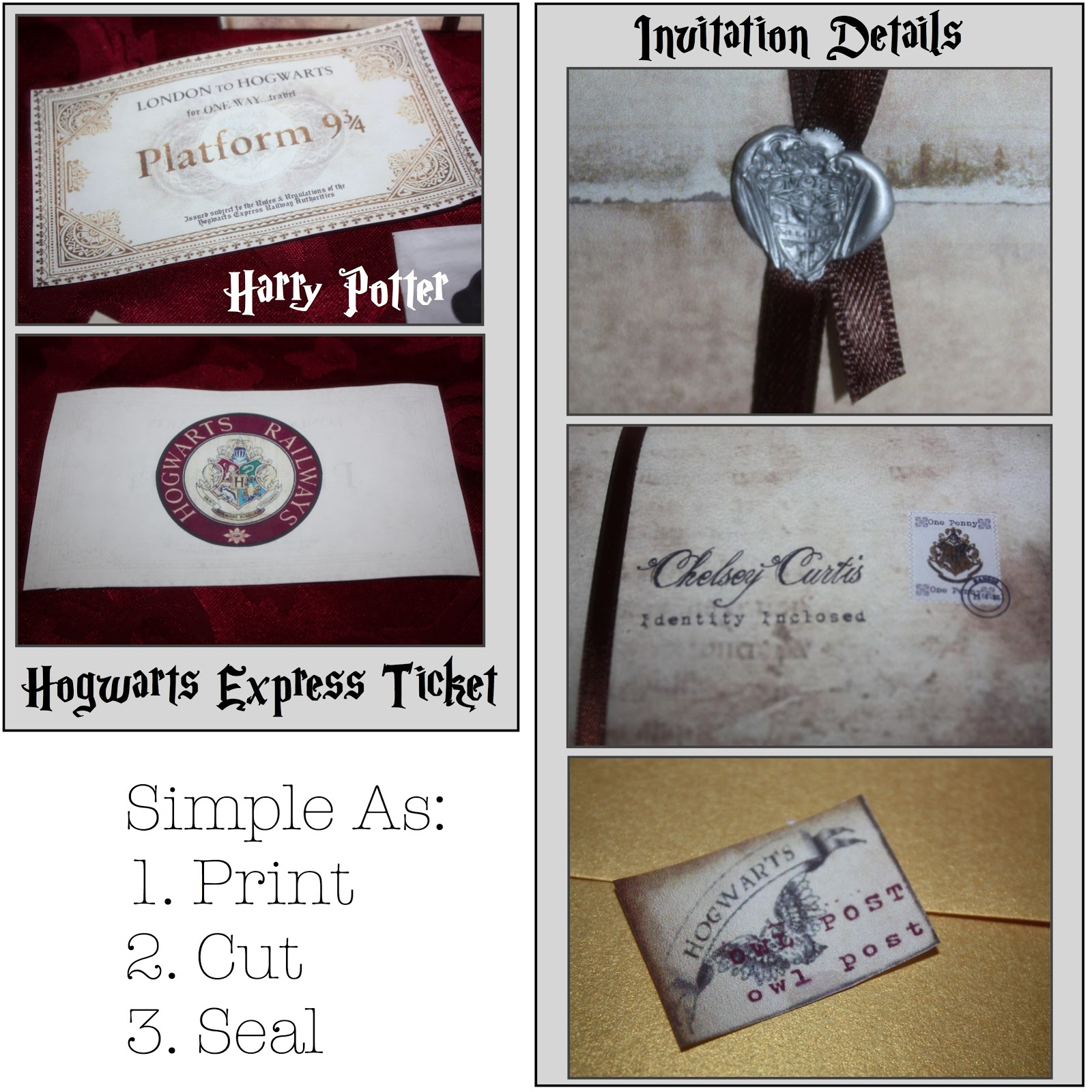 Just Sweet And Simple Harry Potter Mystery Dinner Party Invitations