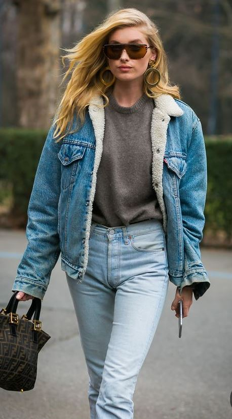 Fall 2018 Street Style : denim jacket + grey pullover + jeans + handbag