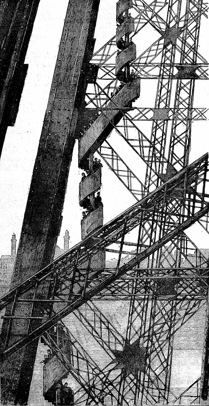 the Eiffel tower stairs at the 1900 Paris World's Fair, an illustration