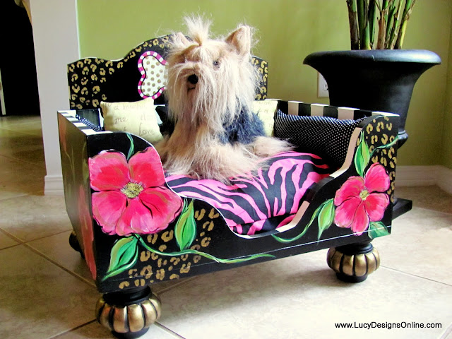 floral on black dog bed with zebra cheetah animal prints