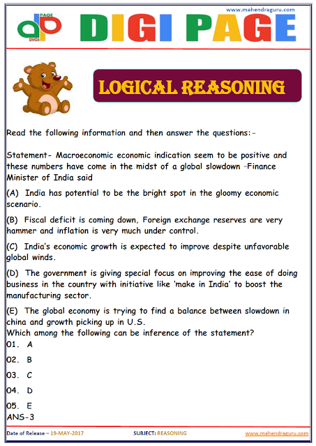 DP | LOGICAL REASONING | 19 - MAY - 17 | IMPORTANT FOR SBI PO