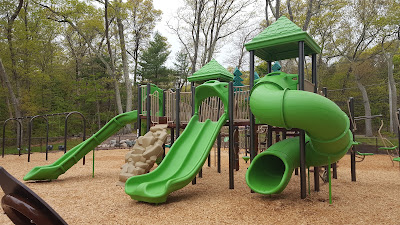 the playground at DelCarte was redone and opened on Saturday
