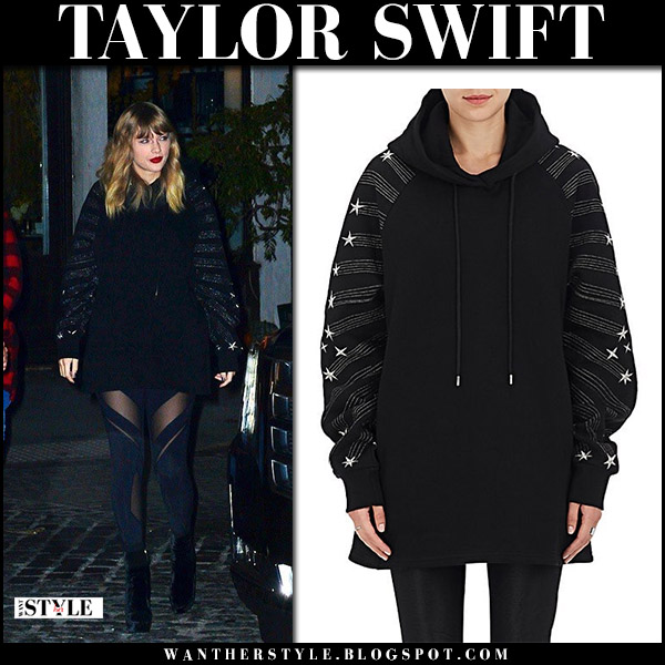 Taylor Swift in black oversized hoodie, leggings and black ankle boots at Reputation album launch outfit fashion november 12 2017