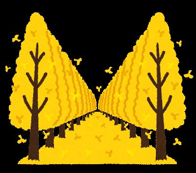 銀杏並木のイラスト