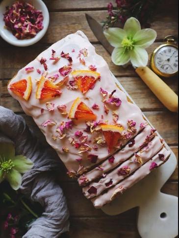 Rose Cardamom and Blood Orange Loaf Cake