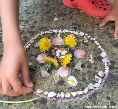 Making natural mandalas in the garden