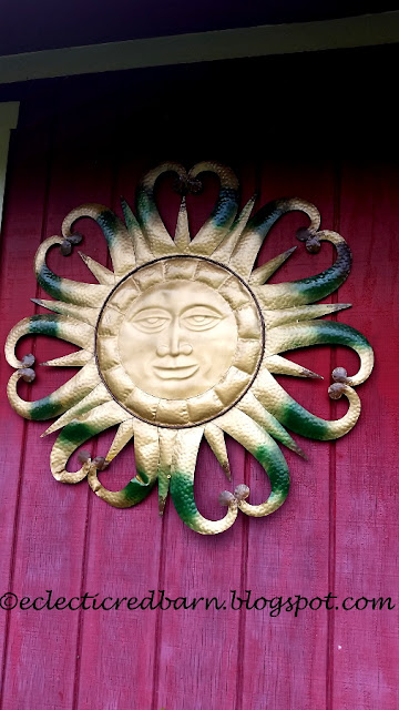 Eclectic Red Barn: Metal sun painted