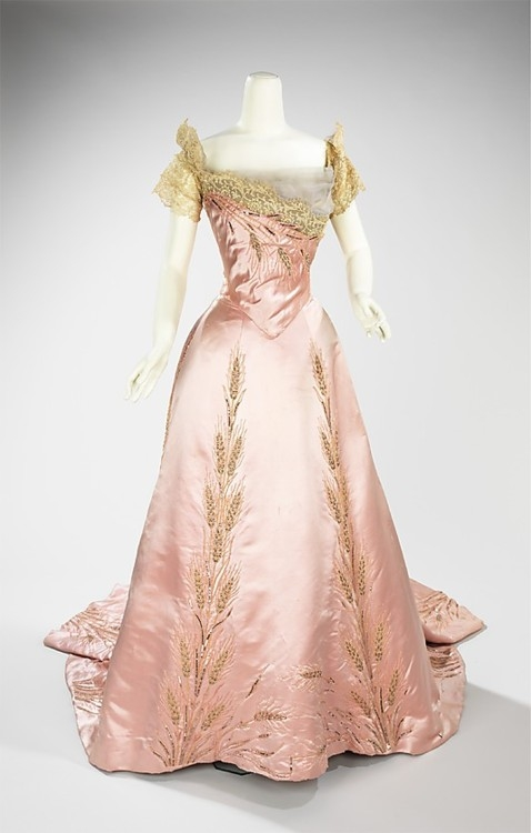 Experiments in Elegance: 1900 Pink Worth Wheat Dress
