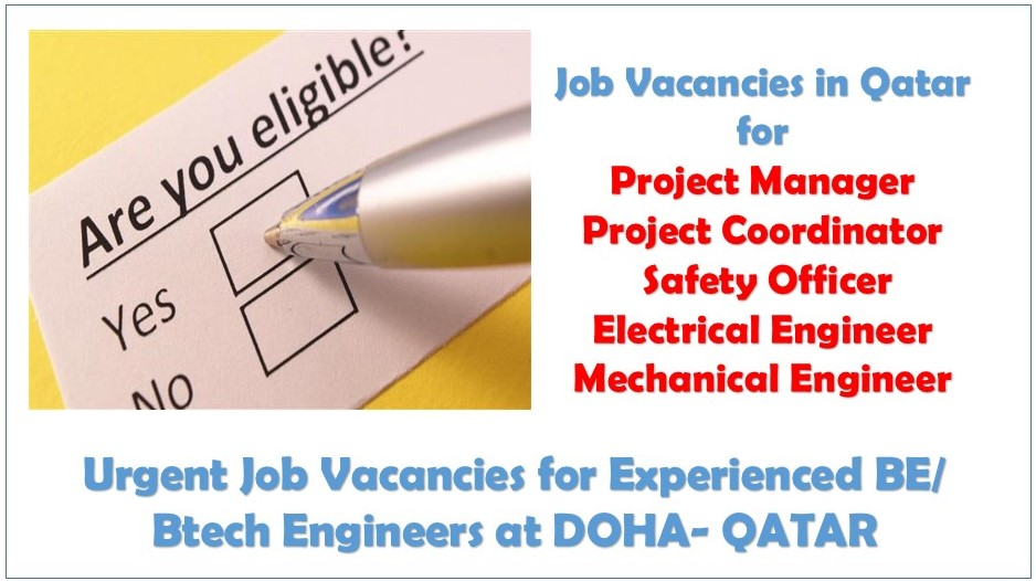 Vacancy for Experienced BE/ Btech Engineers at DOHA- QATAR