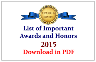 List of Important Awards and Honors in 2015- GK Materials for Upcoming Exams Download in PDF
