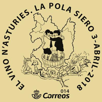 Matasellos sobre el vino asturiano de El Ventolín