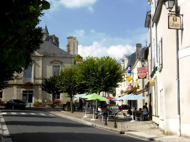 Le Grand-Pressigny in the Loire Valley looking up from the square to the chateau