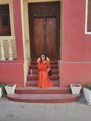 breezy orange maxi dress for summer
