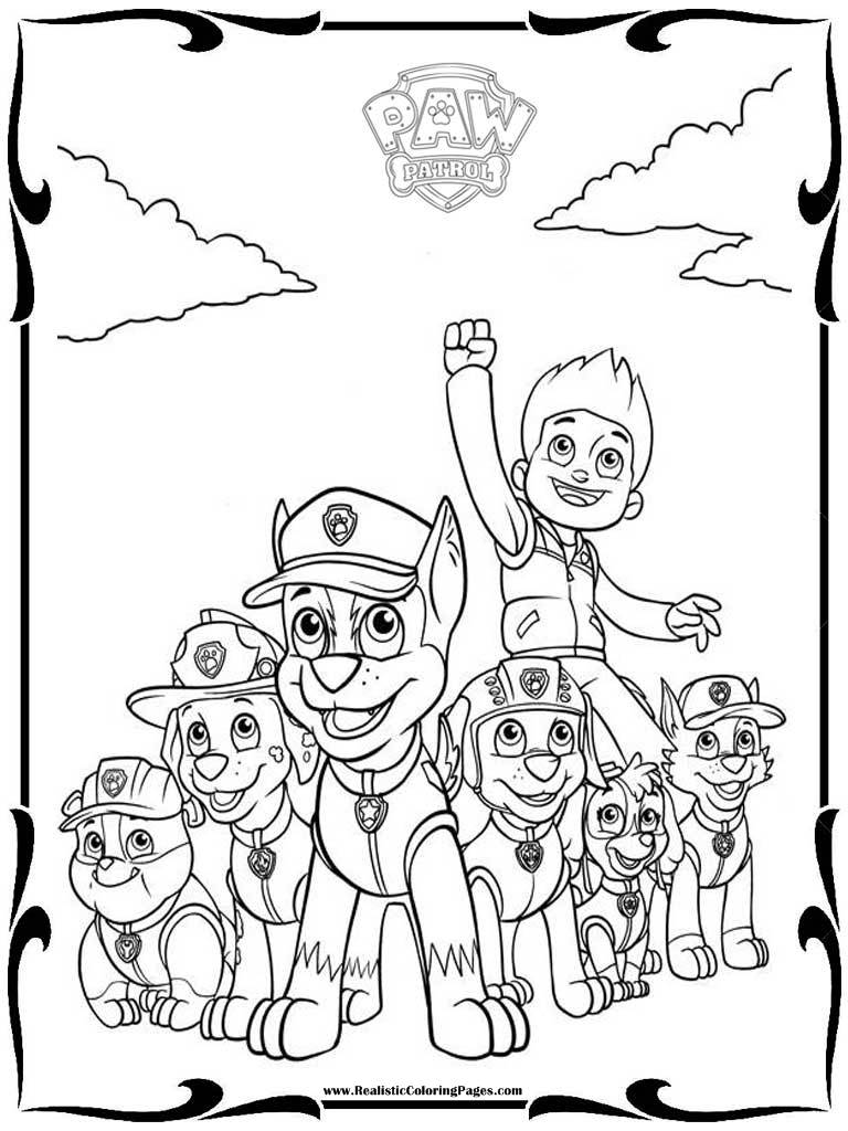 Valentine With Paw Patrol - Free Colouring Pages