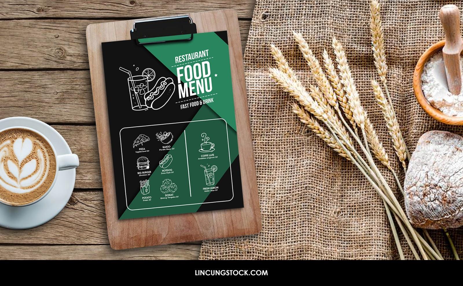 free download clipboard food menu restaurant mock-up