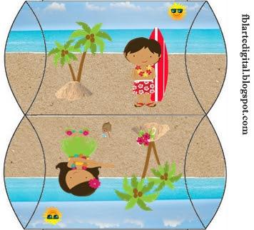 Cajas Almohada para Imprimir Gratis de Fiesta Hawaiana de Chicas.