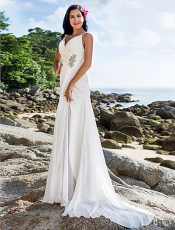 73541d59c0f This dress is light weight and perfect for a beach wedding. With a little  bling this look can be dressed up for your perfect day!