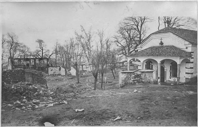 In the streets of Bitola (Monastir) (March 1917). The monastery, former Q.G. of General Sicre: After the bombing