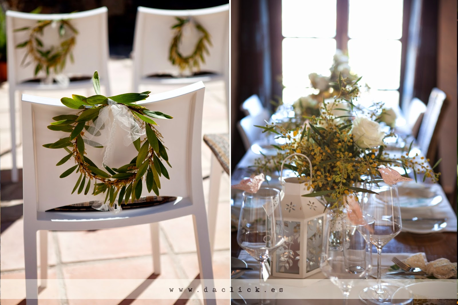 Corona de flores de mimosa adorno de sillas y centro de mesa