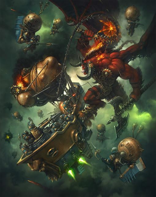 warhammer age of sigmar artwork khorne bloodthirster versus kharadron overlords